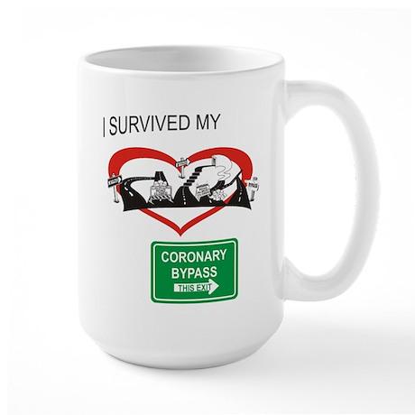 I survived my coronary bypass Large Mug