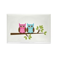 Two Owls on a Branch Rectangle Magnet