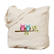 Two Owls on a Branch Tote Bag