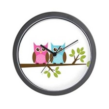 Two Owls on a Branch Wall Clock