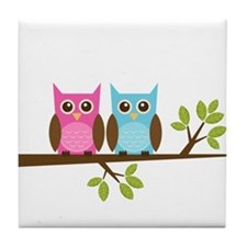 Two Owls on a Branch Tile Coaster