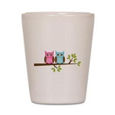 Two Owls on a Branch Shot Glass