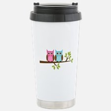 Two Owls on a Branch Travel Mug