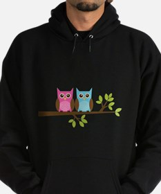 Two Owls on a Branch Hoodie (dark)