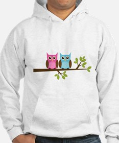 Two Owls on a Branch Hoodie
