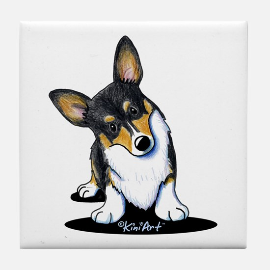 KiniArt Tricolor Corgi Tile Coaster