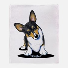 KiniArt Tricolor Corgi Throw Blanket