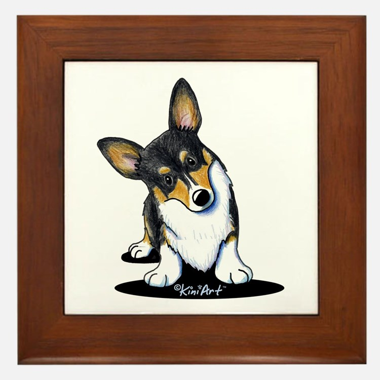 KiniArt Tricolor Corgi Framed Tile