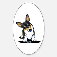 KiniArt Tricolor Corgi Sticker (Oval)