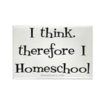 I think, therefore I homeschool Rectangle Magnet (