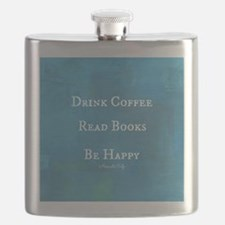 Drink Coffee, Read Books, Be Happy Flask