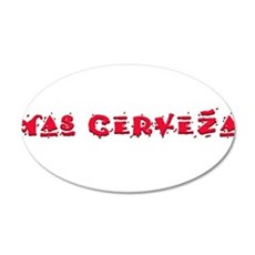 Mas Cerveza2.png 20x12 Oval Wall Decal