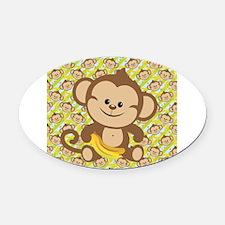 Cute Cartoon Monkey Oval Car Magnet