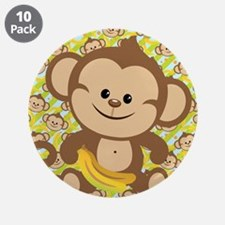 "Cute Cartoon Monkey 3.5"" Button (10 pack)"