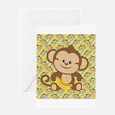 Cute Cartoon Monkey Greeting Card
