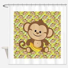 Cute Cartoon Monkey Shower Curtain