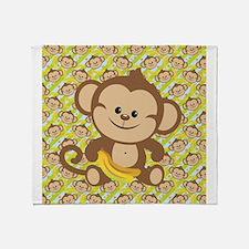 Cute Cartoon Monkey Throw Blanket