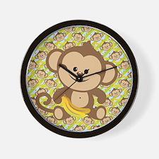 Cute Cartoon Monkey Wall Clock