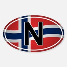 Norwegian Oval Car Decal - Flag Design Decal