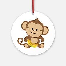 Cute Cartoon Monkey Ornament (Round)