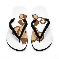 Cute Cartoon Monkey Flip Flops