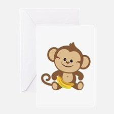 Cute Cartoon Monkey Greeting Card