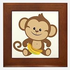 Cute Cartoon Monkey Framed Tile
