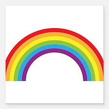 Cool retro graphic rainbow design Square Car Magne