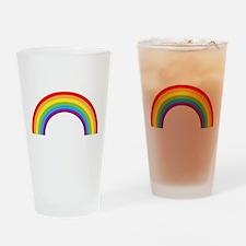 Cool retro graphic rainbow design Drinking Glass