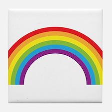Cool retro graphic rainbow design Tile Coaster