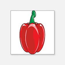 "Red Bell Pepper Square Sticker 3"" x 3"""