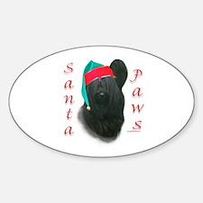 Santa Paws Skye Terrier Oval Decal