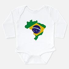 Brasil Flag Map Long Sleeve Infant Bodysuit