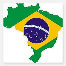 "Brasil Flag Map Square Car Magnet 3"" x 3"""