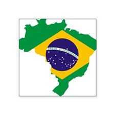 "Brasil Flag Map Square Sticker 3"" x 3"""