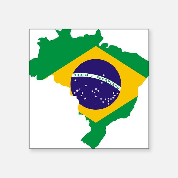 "Brasil Flag Map Square Sticker 3"" x 3"""