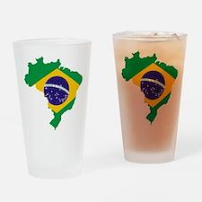 Brasil Flag Map Drinking Glass