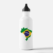 Brasil Flag Map Water Bottle