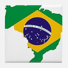 Brasil Flag Map Tile Coaster