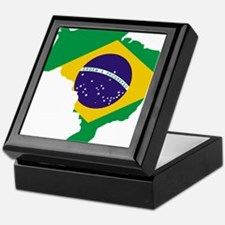 Brasil Flag Map Keepsake Box