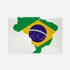 Brasil Flag Map Rectangle Magnet