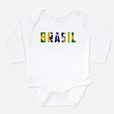Brasil-Brazil Flag Long Sleeve Infant Bodysuit