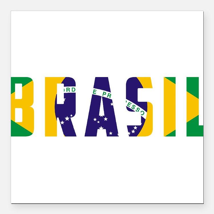 "Brasil-Brazil Flag Square Car Magnet 3"" x 3"""