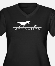 T Rex motivational Women's Plus Size V-Neck Dark T