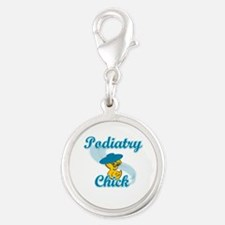 Podiatry Chick #3 Silver Round Charm