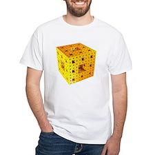 Yellow Menger sponge fractal white T-Shirt