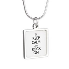 Keep Calm and Rock On Silver Square Necklace