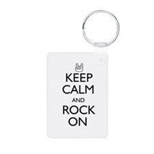 Keep Calm and Rock On Keychains