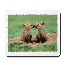 """Fox cubs kiss"" Mousepad"