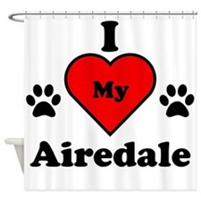 I Heart My Airedale Shower Curtain